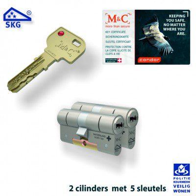 2x M&C Condor Anti Kerntrek Veiligheids certificaat cilinder SKG***