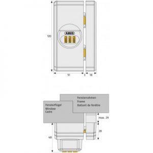 ABUS raam- en deurbijzetslot met cijfercode FTS106